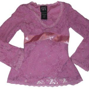 Pink Stretch Lace Top Girl Size Small Fits 7 8